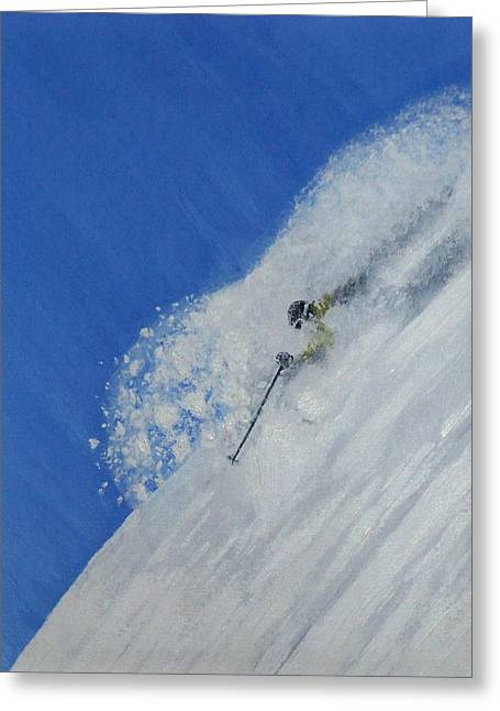 Skiing Action Paintings Greeting Cards - First Greeting Card by Michael Cuozzo