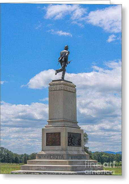 Stone Sentinel Greeting Cards - First Minnesota Monument on Gettysburg Battlefield Greeting Card by Randy Steele