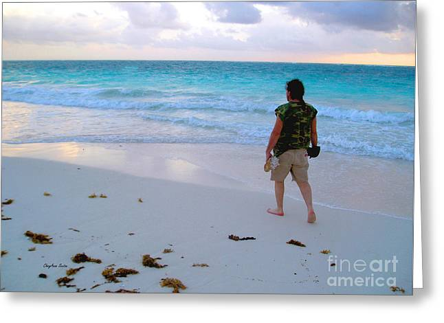 Beach Photography Greeting Cards - First Mornin Walk Greeting Card by CheyAnne Sexton