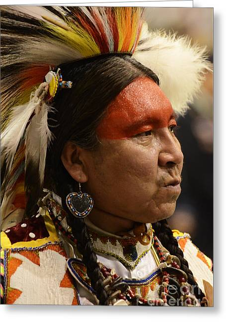 Pow Wow First Nations Man Portrait 1 Greeting Card by Bob Christopher