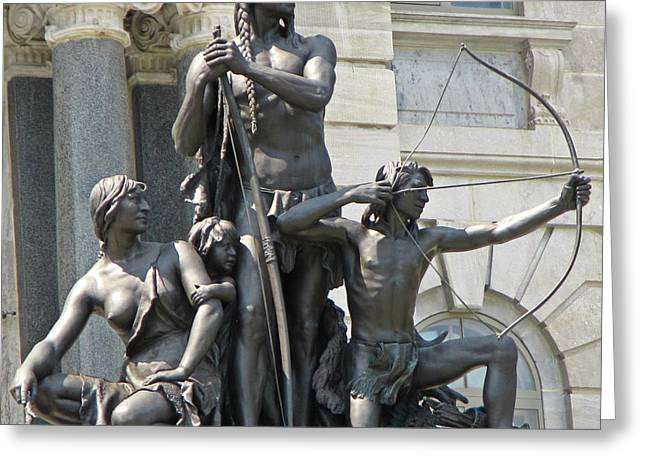 History Sculptures Greeting Cards - First Nations People of Canada Statue in Quebec Greeting Card by John Malone
