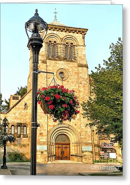 Town Square Greeting Cards - First Parish Church in Summer Greeting Card by Janice Drew