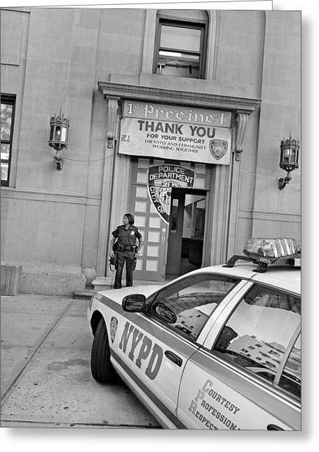 Policewoman Greeting Cards - First Precinct NYC Greeting Card by Robert Lacy