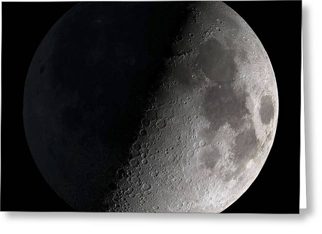 Natural Space Greeting Cards - First Quarter Moon Greeting Card by Stocktrek Images