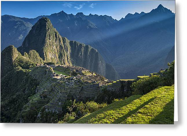 Lost City Greeting Cards - First Rays Greeting Card by Christian Heeb