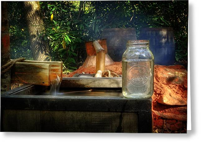 Water Jars Photographs Greeting Cards - First Run Of Moonshine Greeting Card by Greg and Chrystal Mimbs