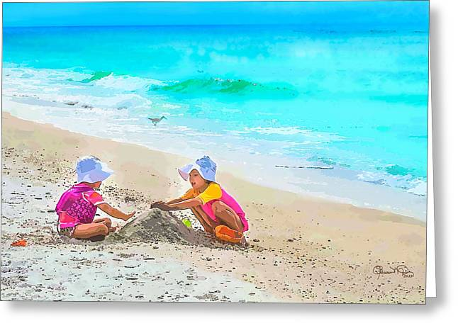 First Sand Castle Greeting Card by Susan Molnar