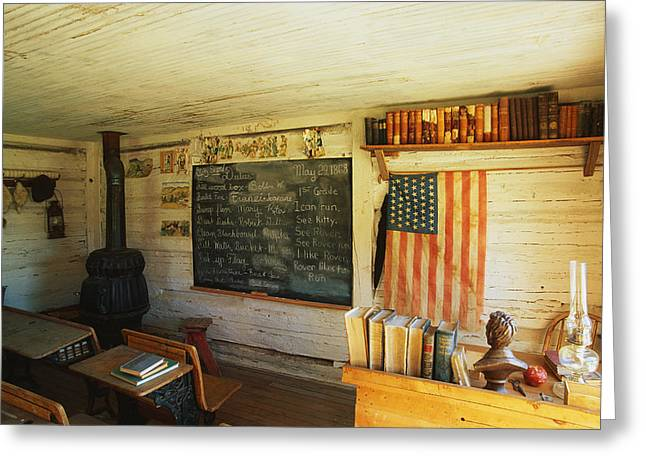 Patriotic Scenes Greeting Cards - First School In Montana Greeting Card by Panoramic Images
