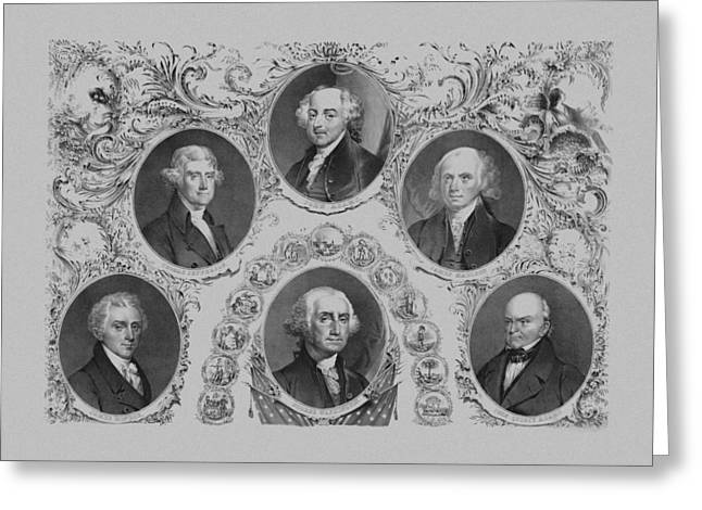 Us History Drawings Greeting Cards - First Six U.S. Presidents Greeting Card by War Is Hell Store