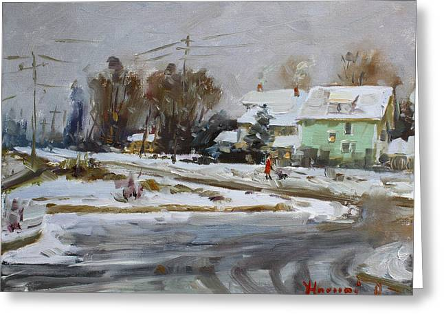 First Snow For This Winter Greeting Card by Ylli Haruni