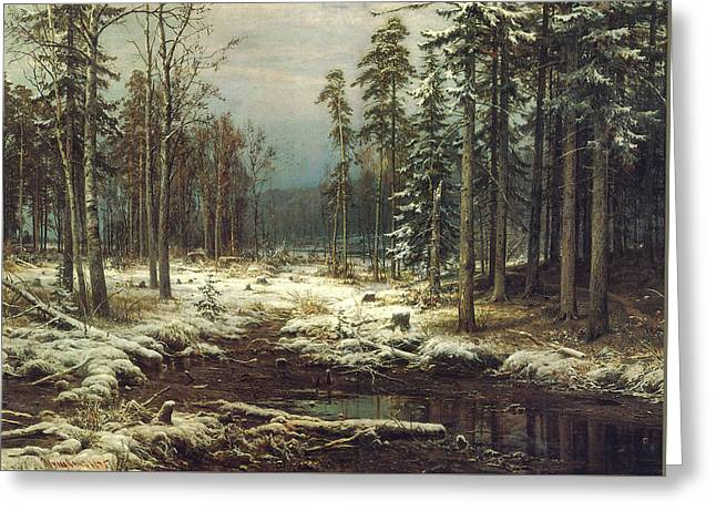 First Snow Greeting Cards - First Snow Greeting Card by Ivan Ivanovich Shishkin