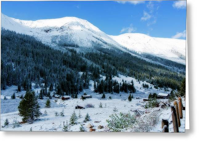 Mountain Cabin Greeting Cards - First Snow Greeting Card by Joan Carroll