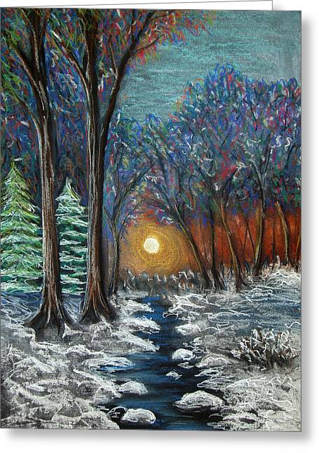 Sunset Greeting Cards Pastels Greeting Cards - First Snow Greeting Card by Nancy Mueller