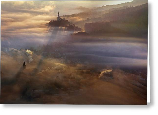 Fog Greeting Cards - First Song Greeting Card by Matjaz Cater