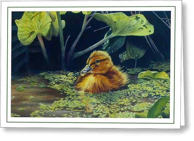 Ducklings Greeting Cards - First Spring - Mallard Duckling Greeting Card by Bob Nolin