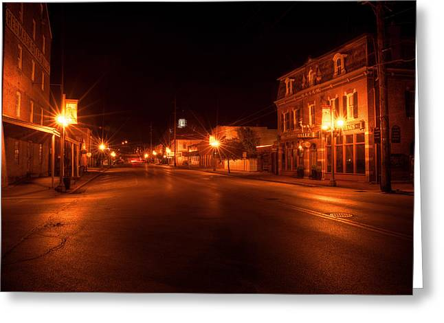 Peaceful Scene Greeting Cards - First Street Nocturne Greeting Card by William Fields