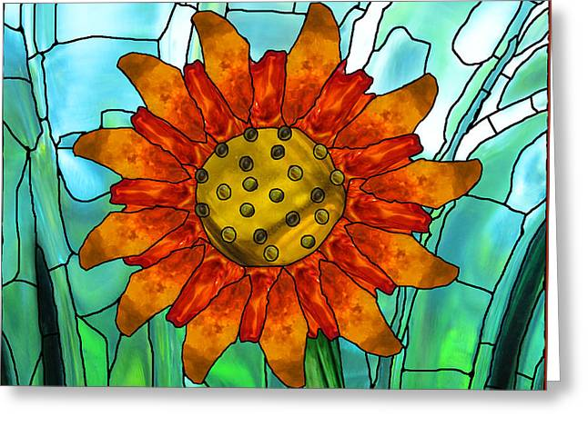 Orange Glass Greeting Cards - First Sun Greeting Card by Wendy Rickwalt