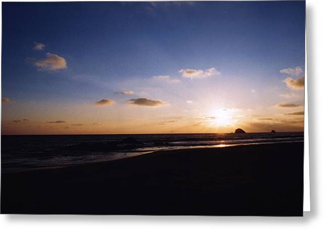 Pacfic Ocean Greeting Cards - First Sunset at Zipolite Greeting Card by Lyle Crump