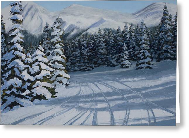 First Tracks Greeting Card by Mary Giacomini