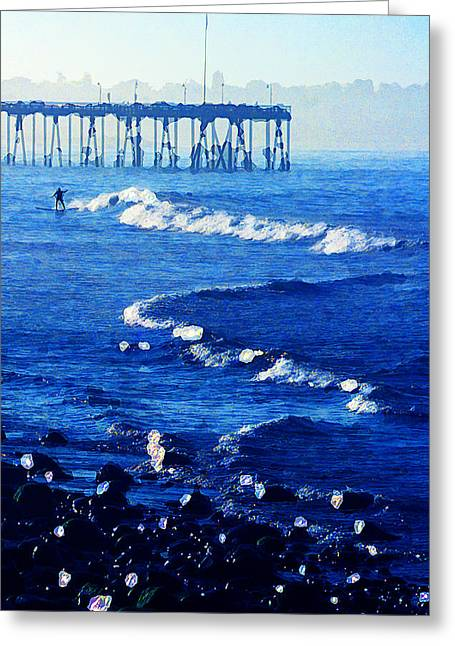 Ventura Pier Greeting Cards - First Up Greeting Card by Ron Regalado