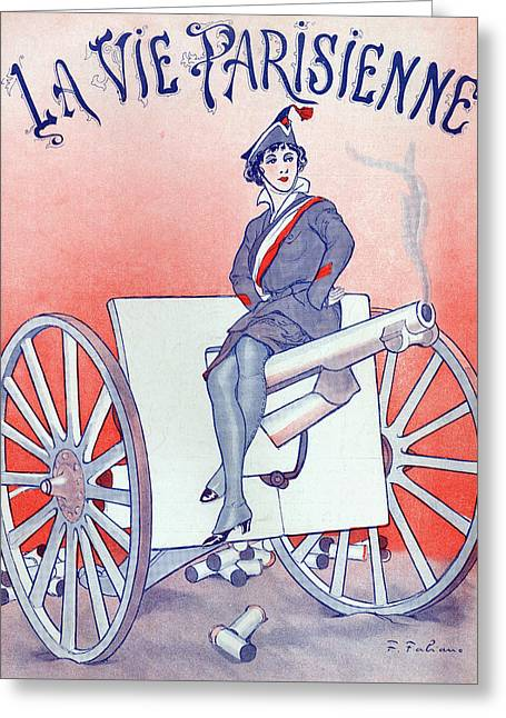 First World War Propaganda   Cover Of La Vie Parisienne Greeting Card by French School