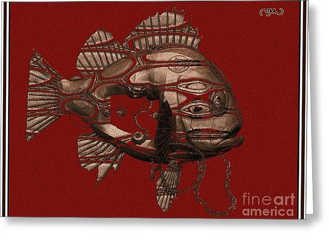Statue Portrait Greeting Cards - fish 1F Greeting Card by Pemaro