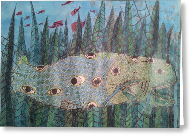 Temperature Drawings Greeting Cards - Fish 4 Greeting Card by William Douglas