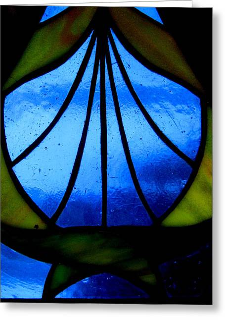 Stainglass Greeting Cards - Fish Greeting Card by Allen n Lehman
