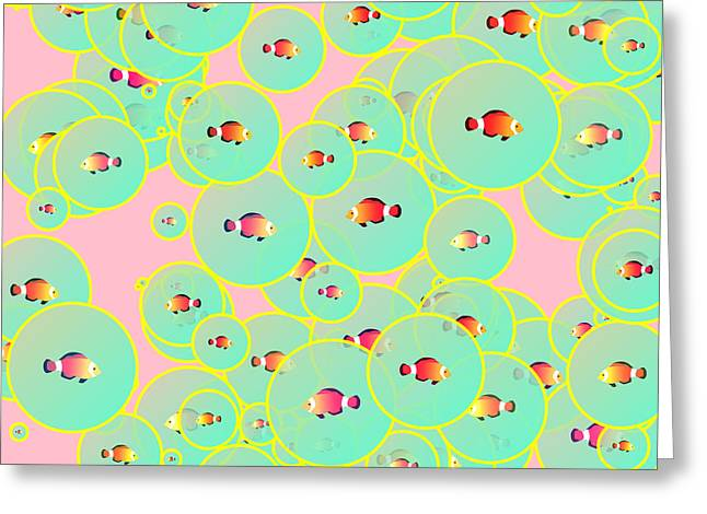 Bubbly Digital Greeting Cards - Fish and bubbles Greeting Card by Gaspar Avila