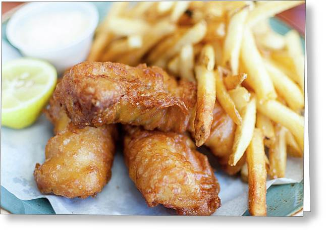 Fish And Chips On A Plate Greeting Card by Bradley Hebdon