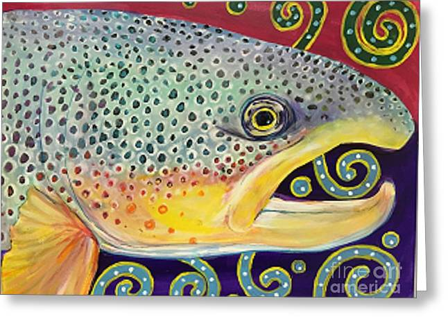 Salmon Paintings Greeting Cards - Fish and doodles Greeting Card by Maria Elena Gonzalez