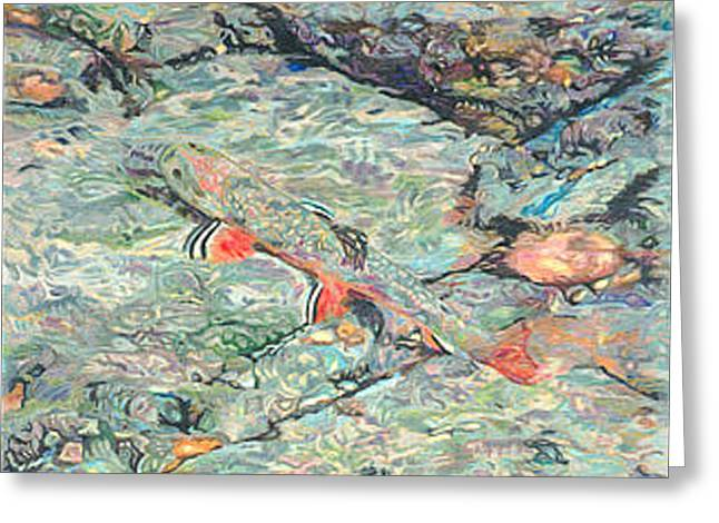 Trout Framed Print Greeting Cards - Fish Art Trout Art Brook Trout Brookie Artwork Nature Underwater Wildlife Creek Art River Art Lake Greeting Card by Baslee Troutman