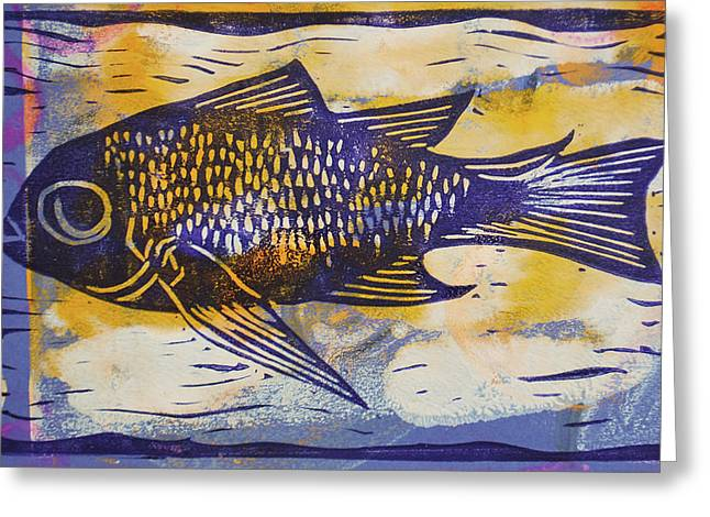 Linocut Greeting Cards - Fish Blue Yellow Greeting Card by Diana Blackwell