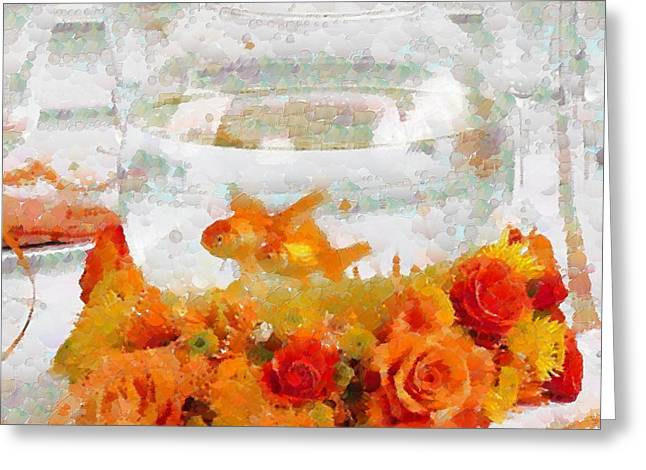 Print On Canvas Greeting Cards - Fish Bowl Defined In Tiny Bubbles Greeting Card by Catherine Lott