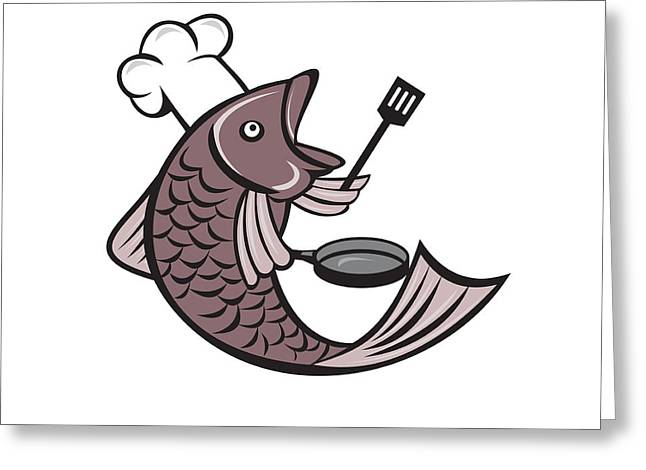 Fries Digital Greeting Cards - Fish Chef Cook Holding Spatula Frying Pan Cartoon Greeting Card by Aloysius Patrimonio