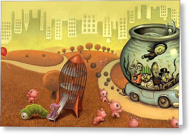 Cartoony Greeting Cards - Fish Circus - Landscape Greeting Card by Luis Diaz