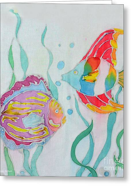 Tropical Island Tapestries - Textiles Greeting Cards - Fish Duo Greeting Card by Jamie Schab