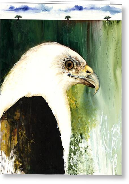 African-american Mixed Media Greeting Cards - Fish Eagle Greeting Card by Anthony Burks Sr