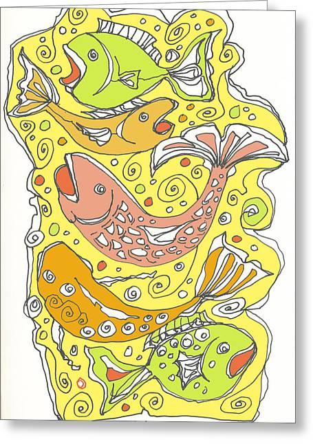 Decorative Fish Drawings Greeting Cards - Fish Fish Greeting Card by Linda Kay Thomas