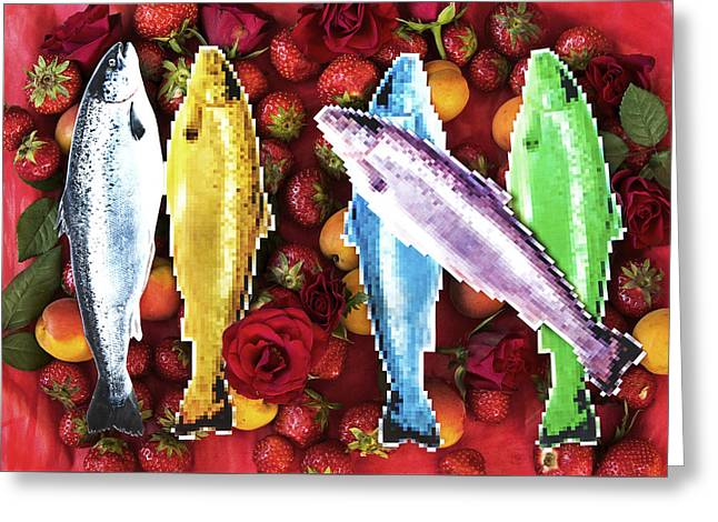 Lions Greeting Cards - Fish in a fruit salad Greeting Card by Nikolay Devnenski