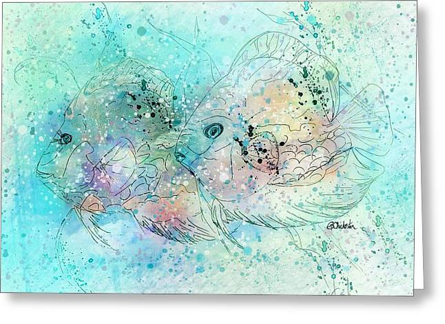 Fish In Tropical Colors Greeting Card by Barbara Chichester