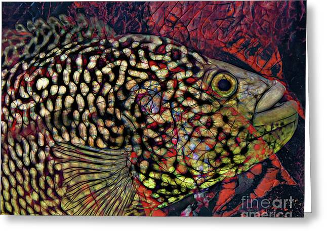 Printmaking Greeting Cards - Fish Greeting Card by Laura L Leatherwood