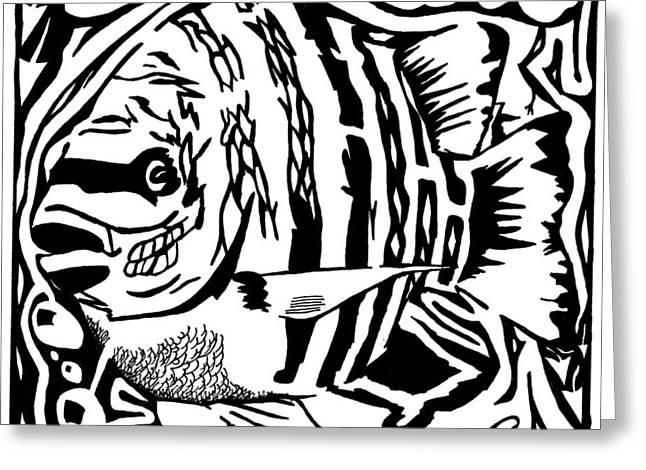 Yonatan Mixed Media Greeting Cards - Fish maze Greeting Card by Yonatan Frimer Maze Artist