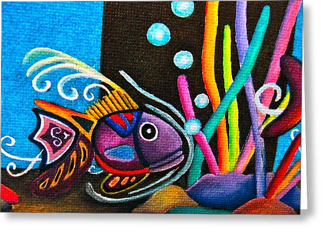 Silly Fish Greeting Cards - Fish on Parade Greeting Card by Lori Miller