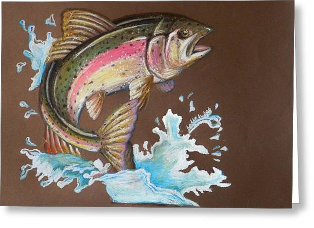 Trout Fishing Pastels Greeting Cards - Fish Out of Water Greeting Card by Megan Donnelly
