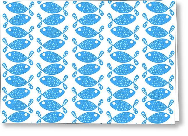 Decorative Fish Greeting Cards - Fish Pattern in Blue and White Color Greeting Card by Jelena Ciric