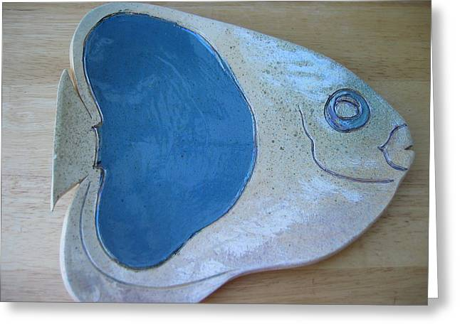 Lit Ceramics Greeting Cards - Fish Platter Greeting Card by Julia Van Dine