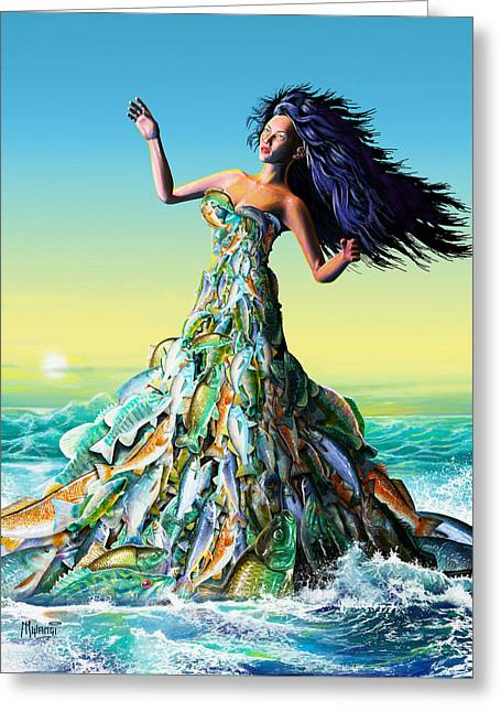 Blue Green Wave Greeting Cards - Fish Queen Greeting Card by Anthony Mwangi