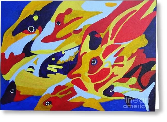 Angel Blues Greeting Cards - Fish Shoal Abstract 2 Greeting Card by Karen J Jones