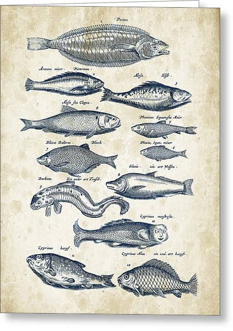 Fish Digital Art Greeting Cards - Fish Species Historiae Naturalis 08 - 1657 - 27 Greeting Card by Aged Pixel